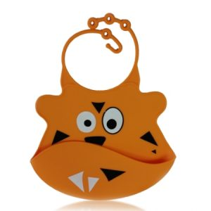 Silicone Baby Bib with Crumb Catcher - Tiger